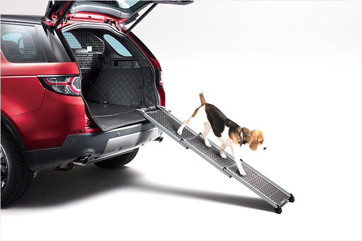 반려견이 자동차 트렁크에 쉽게 오르게 해주는 랜드로버의 '펫 백' 리프트.