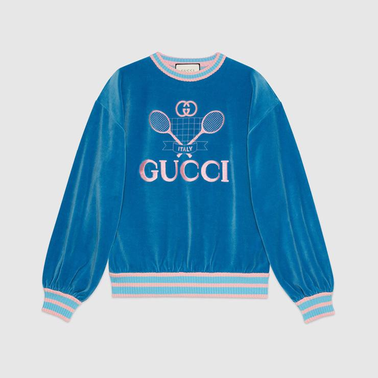 1987년 하우스의 컨트리클럽 아카이브에서 영감을 받은 스웨트 셔츠, Gucci.