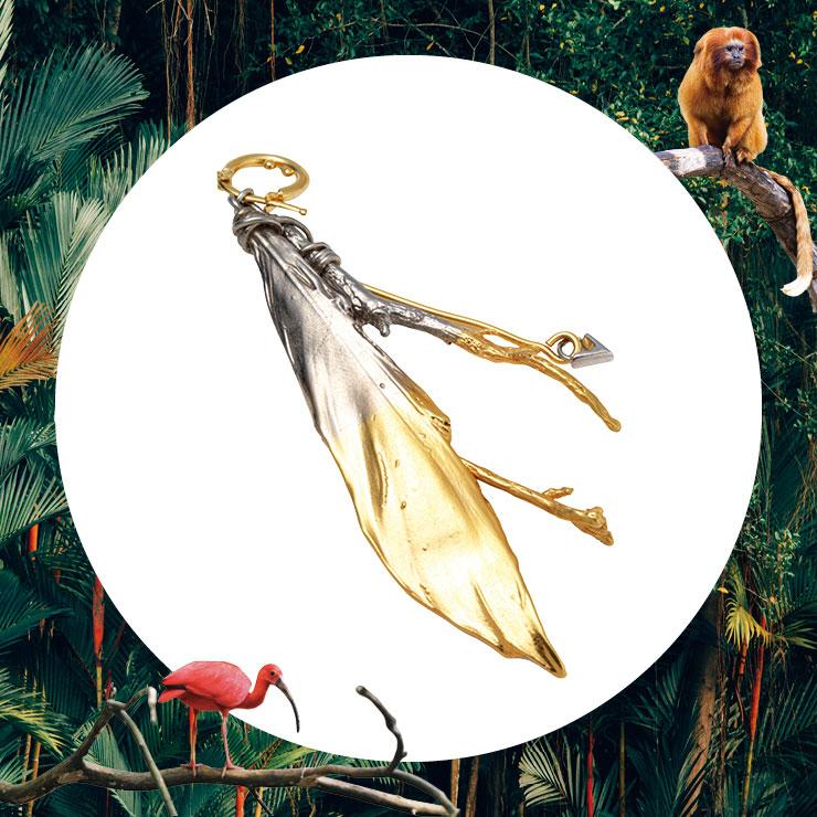 깃털 모티프의 싱글 이어링은 가격 미정, Louis Vuitton.