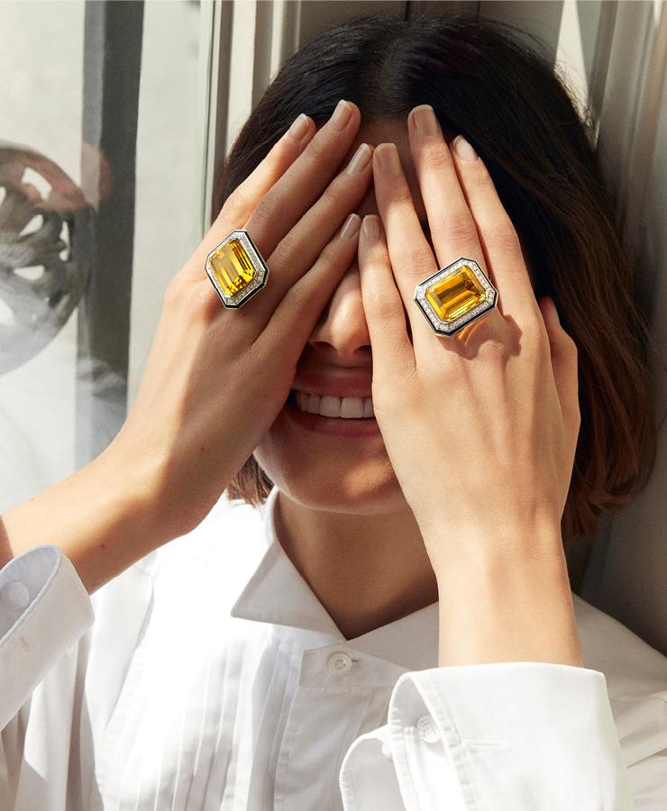 부쉐론의 로고이자 방돔광장의 모양과 동일한 에메랄드 컷에 대한 오마주를 담은 듀오 따이으 에머호드.