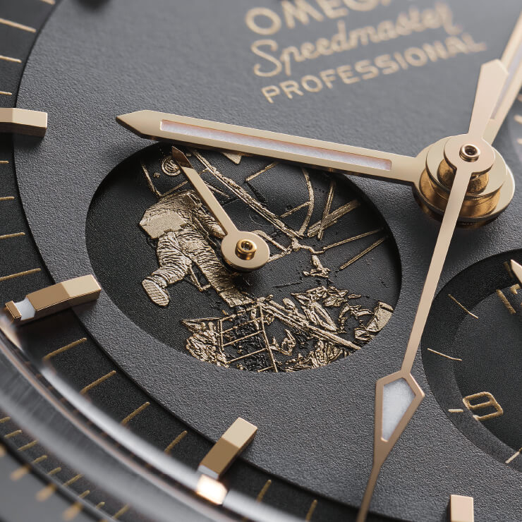 스피드마스터 아폴로 11, 50주년 리미티드 에디션 스테인리스스틸의 9시 방향 서브다이얼.