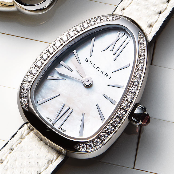 베젤에 다이아몬드를 세팅한 더블 스트랩 워치는 8백만원, Bvlgari.
