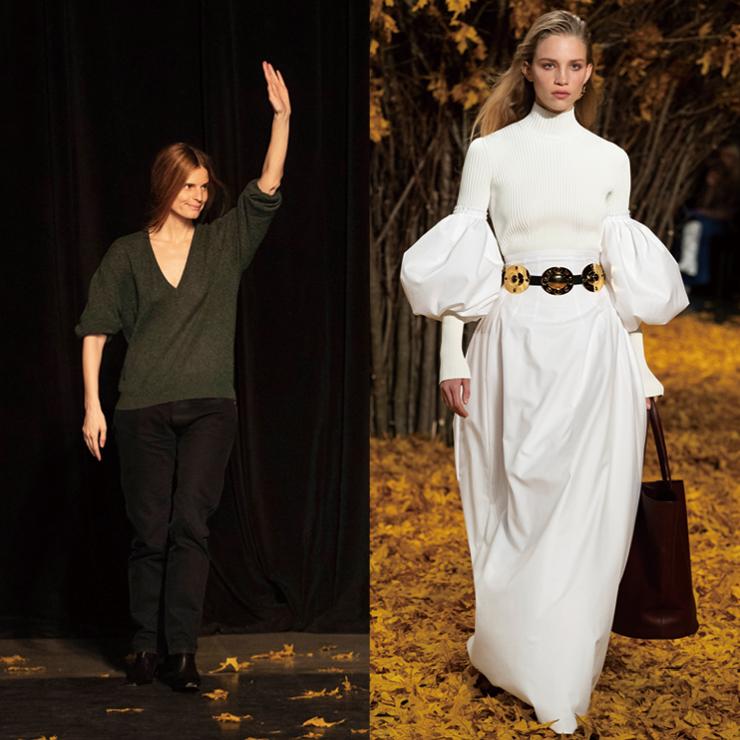 낙엽을 밟으며 시작된 캐서린 홀스테인의 케이트(Khaite) 쇼는 서정적인 분위기와 매니시한 감성을 넘나들며 완성도 높은 런웨이를 선보였다.