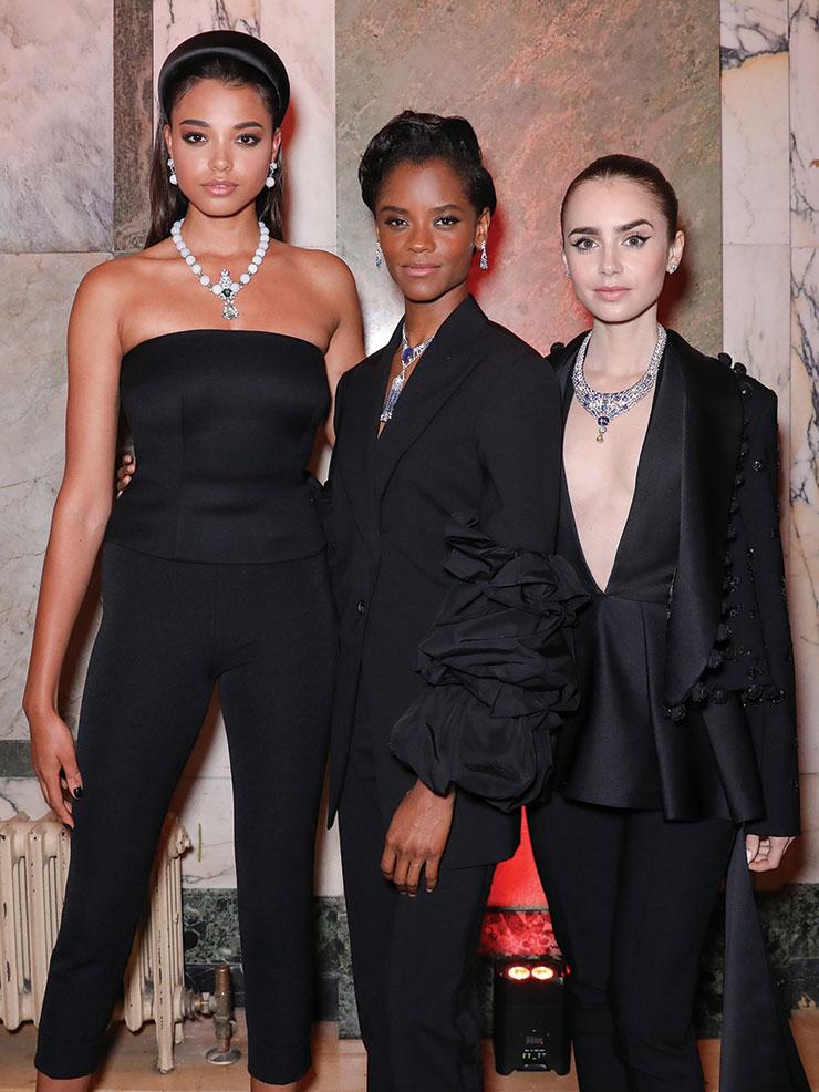 (왼쪽부터) 갈라 디너에서 까르띠에 하이 주얼리로 시선을 사로잡은 배우 엘라 발린스카, 레티티아 라이트, 릴리 콜린스.