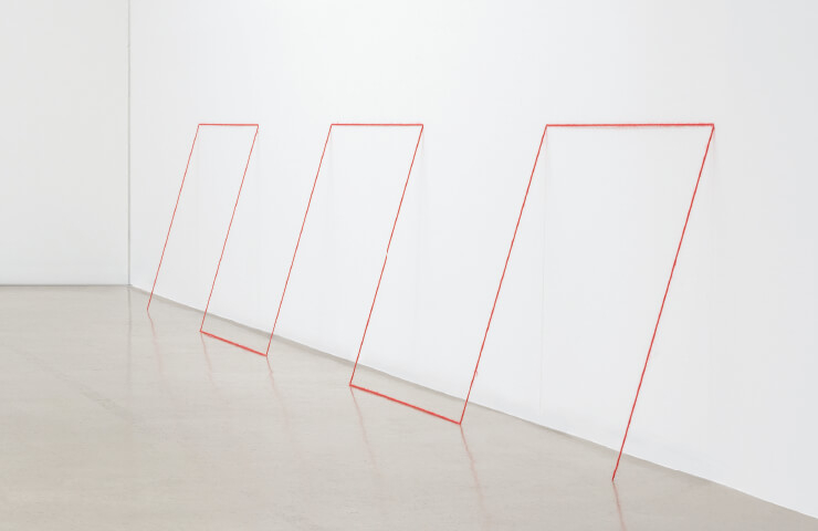 Fred Sandback, 'Untitled(Sculptural Study, Two-part Cornered Construction)', c.1982/2006, Yellow and red acrylic yarn, Situational: spatial relationships established by the artist; overall dimensions vary with each installation, Courtesy of Fred Sandback Estate and Gallery Hyundai