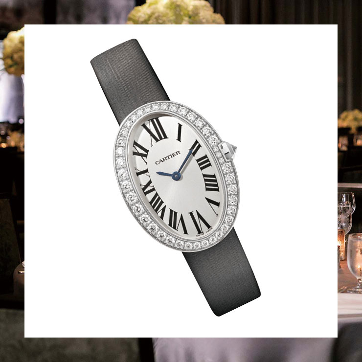 새틴 스트랩 워치는 가격 미정, Cartier.