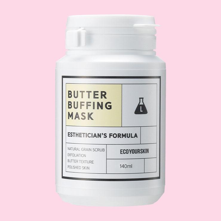 에코유어스킨 버터버핑 마스크 2만8천원─물이 1%도 함유되지 않은, 9가지 곡물 파우더와 식물성 오일이 믹스된 부드럽고 촉촉한 버터 타입의 각질 제거 마스크.