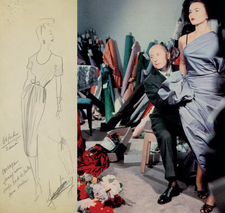 (왼쪽부터) 1947 A/W 오트 쿠튀르 컬렉션을 위한 크리스찬 디올의 스케치. 크리스찬 디올과 모델 실비 히르슈 (1948).