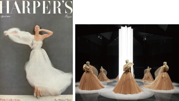 (왼쪽부터) 1949년 <바자> 4월호를 위해 포토그래퍼 리처드 애버던이 촬영한 디올 룩. 마리아 그라치아 치우리의 'Eventail de vos Hasards' 드레스.