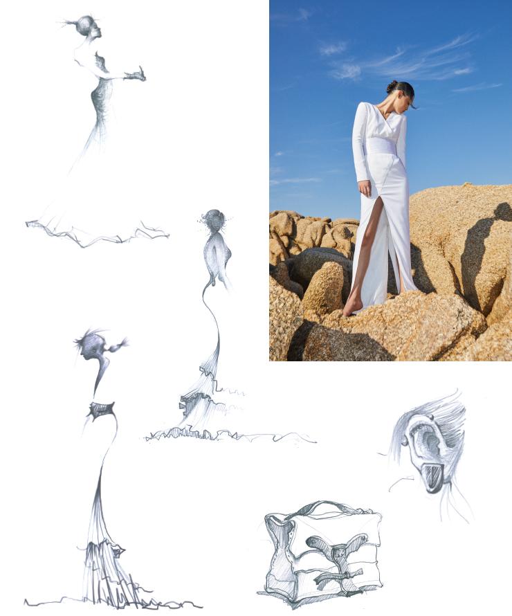 (오른쪽위)2019 프리폴 컬렉션의 화이트 드레스. 평소에 낙서처럼 드로잉을 즐겨 그린다는 디자이너 제이백. 서스펜더에서 영감을 가져온 클래식한 오브제의 핸드백과 액세서리 라인, 드라마틱한 실루엣의 드레스는 다음 시즌을 위한 그의 아이디어다.