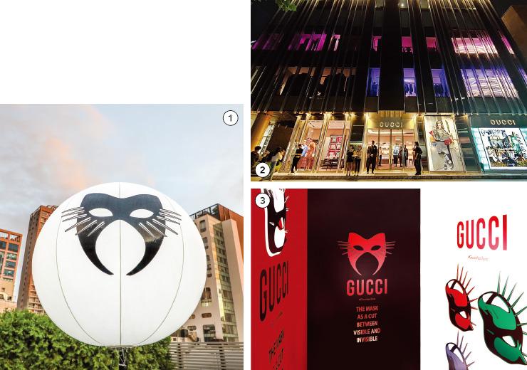 1,2,3 구찌 매니페스토 컬렉션을 공개하는 이벤트를 위한 공간으로 탈바꿈한 플래그십 스토어. 구찌 매니페스토 컬렉션의 메인 이미지인 마스크 일러스트로 1층부터 루프톱까지 곳곳을 장식했다.