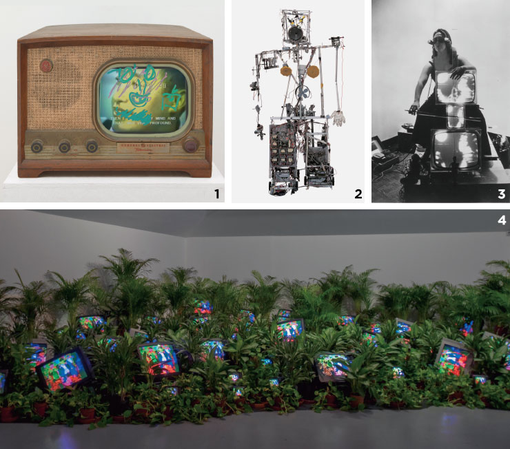 1 'Self-Portrait', 2005, Single channel video installation with 10'' LCD color monitor, San Francisco Museum of Modern Art. 2 'Robot K-456', 1964, 20-channel radio controlled robot, aluminium profiles, wire, wood, electrical divide, foam material, and control-turn out, Courtesy Friedrich Christian Flick Collection in Hamburger Bahnof. 3 'Charlotte Moorman with TV Cello and TV Eyeglasses', 1971, Peter Wenzel Collection. 4 'TV Garden', 1974-1977(2002), Courtesy Kunstsammlung Nordrhein-Westfalen, Dusseldorf Photo: Katherine Du Tiel