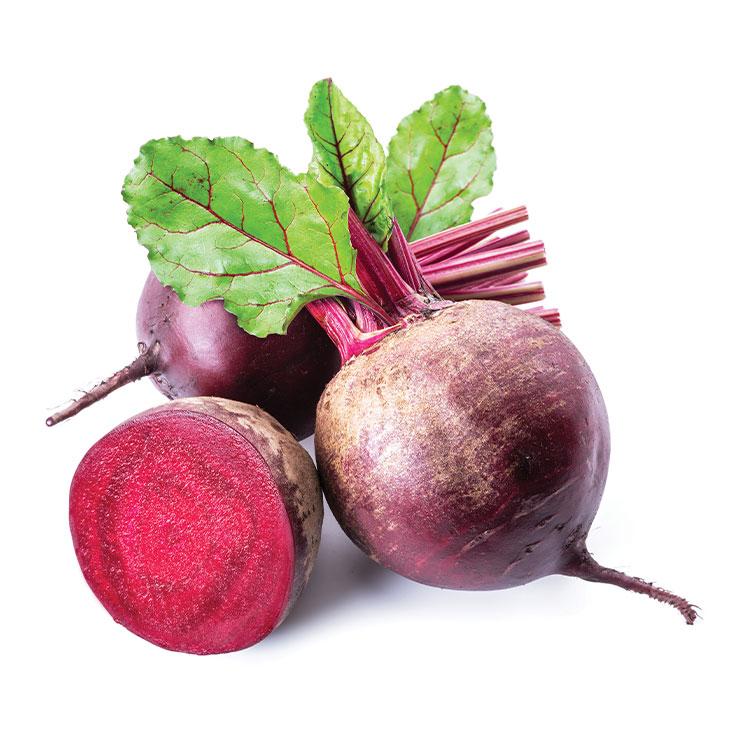 비트▶질산 성분이 혈액 순환을 원활하게 하고, 항산화 물질의 일종인 베타레인 성분이 간의 재생을 돕는다.