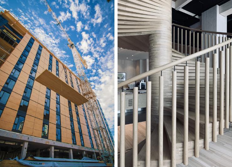 (왼쪽) ⓒ Seagate Structures Photographer: Pollux Chung, Acton Ostry Architects. 캐나다 브록 커먼스 공사 현장에서 CLT 목재 패널을 올리는 작업 중. (오른쪽) ⓒ Øystein Elgsaas, Voll Arkitekter. 주상 복합 건물인 노르웨이의 미에스토르네는 85.4m로 현재 세계에서 가장 높다. 내부의 나무 계단.