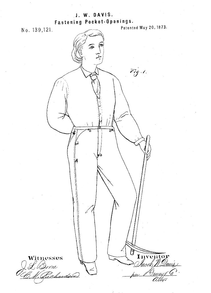 1873년, 리바이스 청바지의 '포켓 오프닝 고정'에 관한 특허 도면.