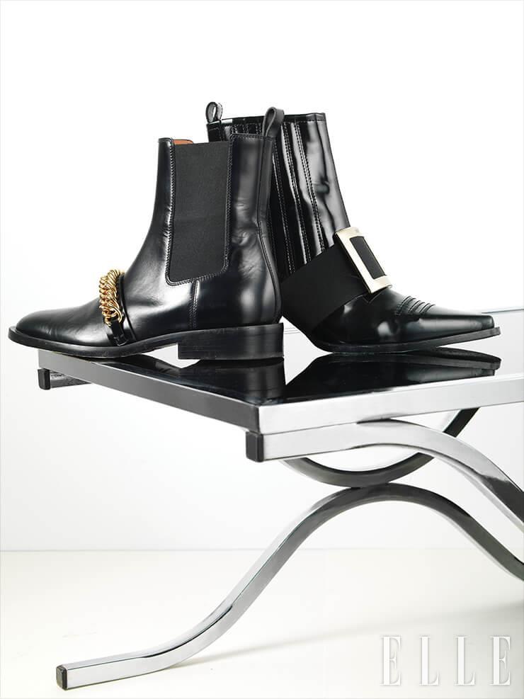 모던한 버클 장식의 앵클부츠는 1백96만원, Roger Vivier. 체인 장식으로 포인트를 준 클래식한 첼시 부츠는 1백63만원, Givenchy.