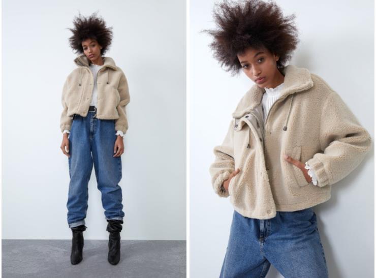▶ 샌드 컬러의 에코 시어링 콤비 재킷은 7만9천원, Zara.
