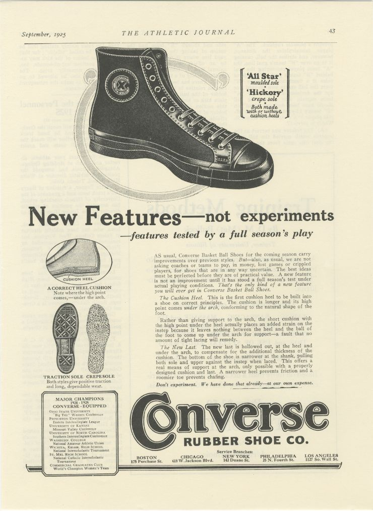 1925년, 컨버스 올스타 농구화 광고 @컨버스 제공