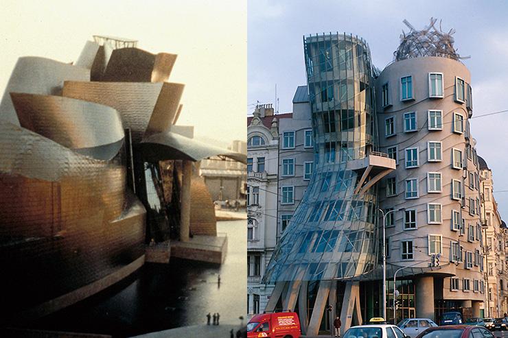 왼쪽부터 구겐하임 뮤지엄 빌바오(1997), 빌바오 / 댄싱 하우스(1996), 프라하