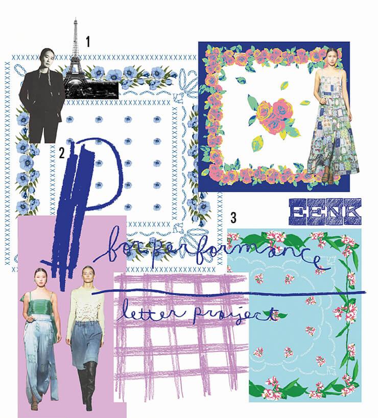 1 20대 이후 가장 많은 시간을 보낸 파리를 사랑한다. 2 디자이너 이혜미. 3 드레스에 사용된 서정적인 패턴 도안. 오랑주리 미술관에 있는 모네의 수련 연작에서 컬러에 대한 아이디어를 얻었다.