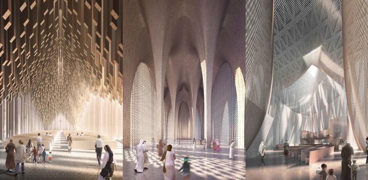 ⓒ Adjaye Associates 아브라함 가족의 집을 구성하는 세 건물의 내부 설계안. 기독교 교회(church), 이슬람 사원(mosque), 유대교회당(synagogue)이 하나의 단지를 이루는 형태다.