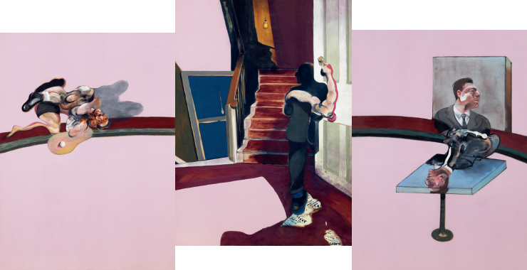'In Memory of George Dyer', 1971, Oil and letraset on canvas, triptyque, 198x147.50cm, Fondation Beyeler - Beyeler Museum, Bale ⓒ The Estate of Francis Bacon /All rights reserved / Adagp, Paris and DACS, London 2019 ⓒ The Estate of Francis Bacon. All rights reserved. DACS/Artimage 2019. Photo: Hugo Maertens
