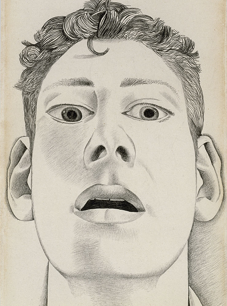 〈Startled Man: Self-portrait〉(1948), Pencil on paper, 22.9x14.3cm. Private collection