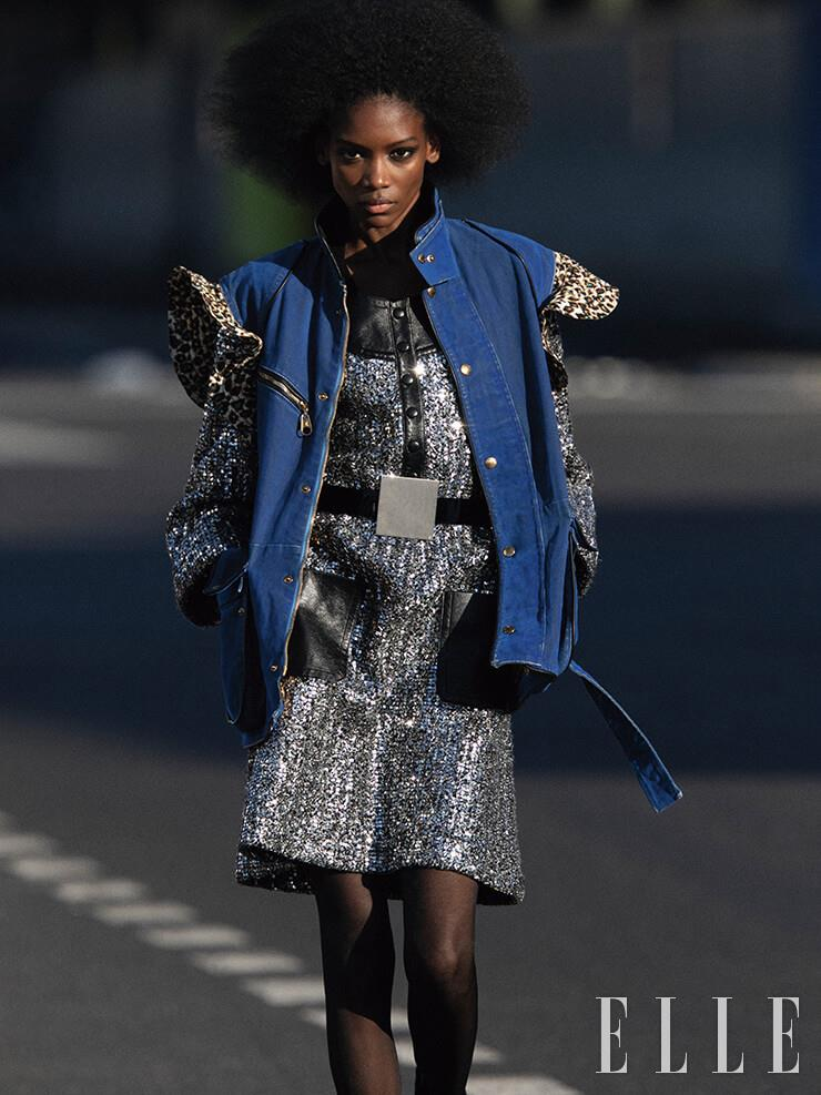레오퍼드 패턴이 믹스된 데님 베스트는 3150파운드, 시퀸 드레스는 8850파운드, 벨트는 450파운드, 모두 Louis Vuitton.