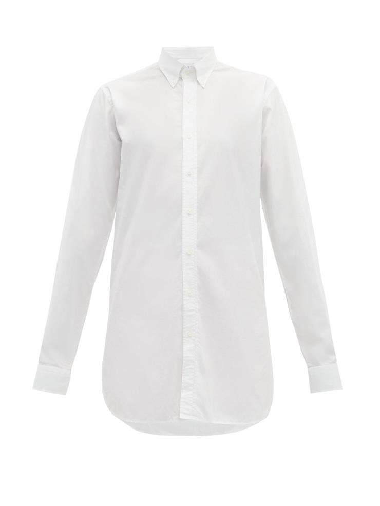 길게 떨어지는 실루엣이 여유로운 롱라인 코튼 셔츠는 약 28만원대(£187) Raey by matchesfashion.com