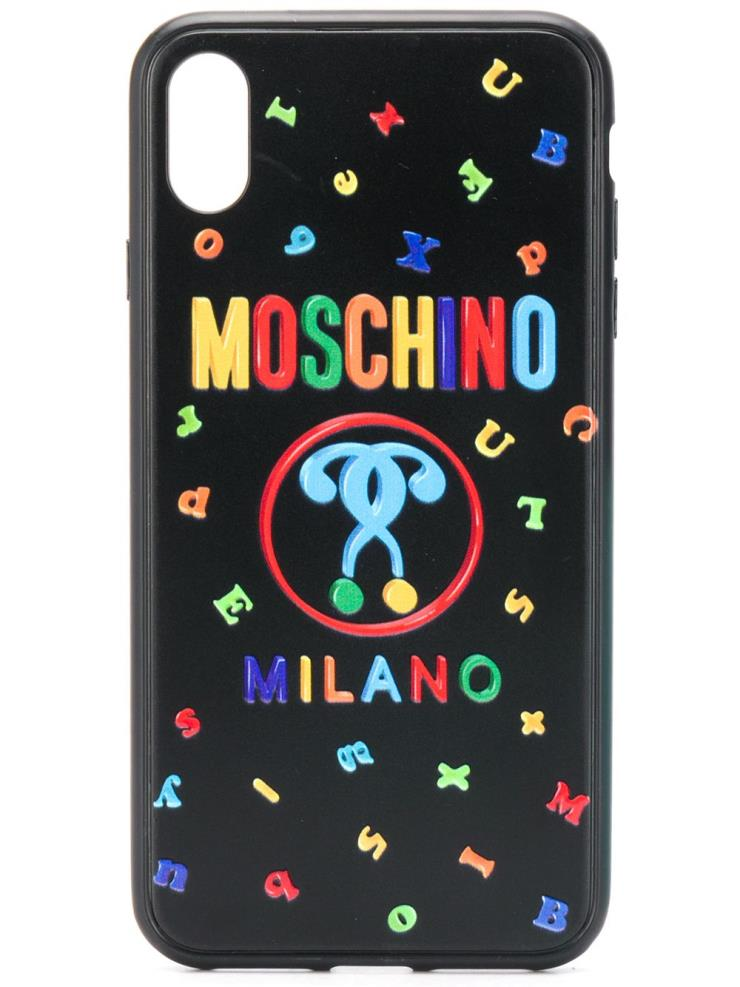 알록달록한 로고 레터링 더블 물음표 로고 아이폰 XS/S 케이스Moschino by Farfetch.com, 8만원.