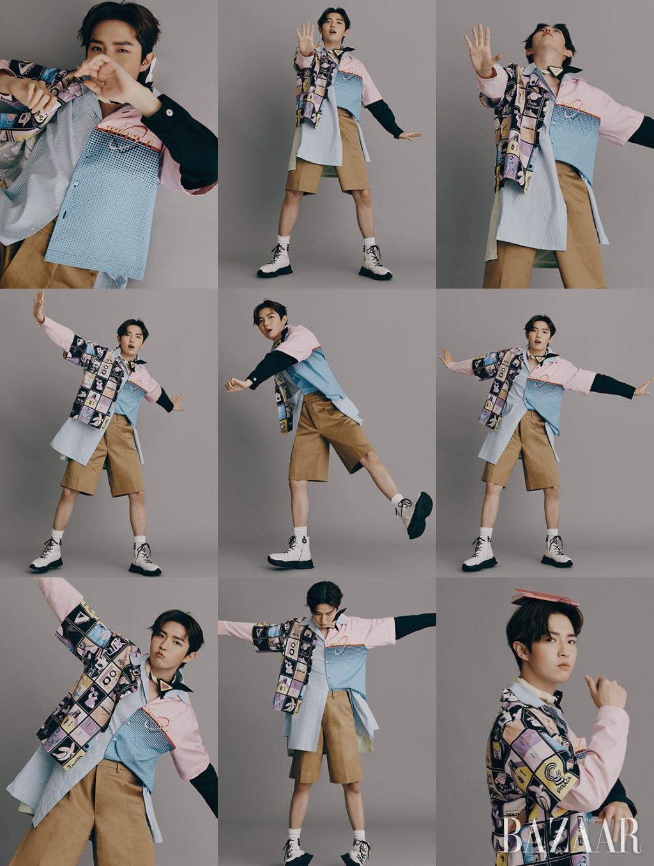 패턴 반팔 셔츠, 컬러 배색 셔츠, 쇼츠, 스카프, 브로치는 모두 Prada. 하이톱 스니커즈는 Rekken.