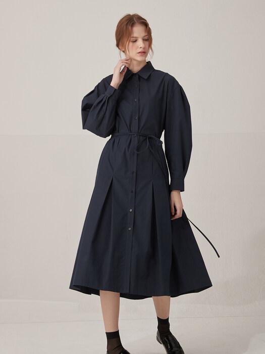 Volume sleeve cotton shirts dress - Navy