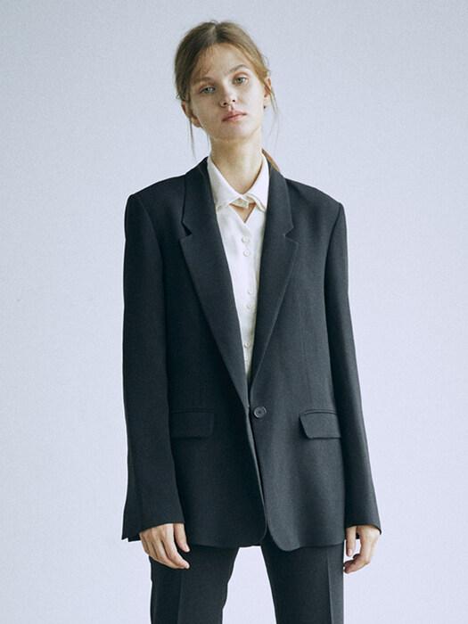 [Drama Signature] Slit Cuffs Tailored Blazer_BLACK