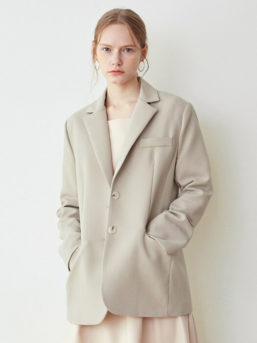 SOLID BASIC SINGLE JACKET_LIGHT KHAKI
