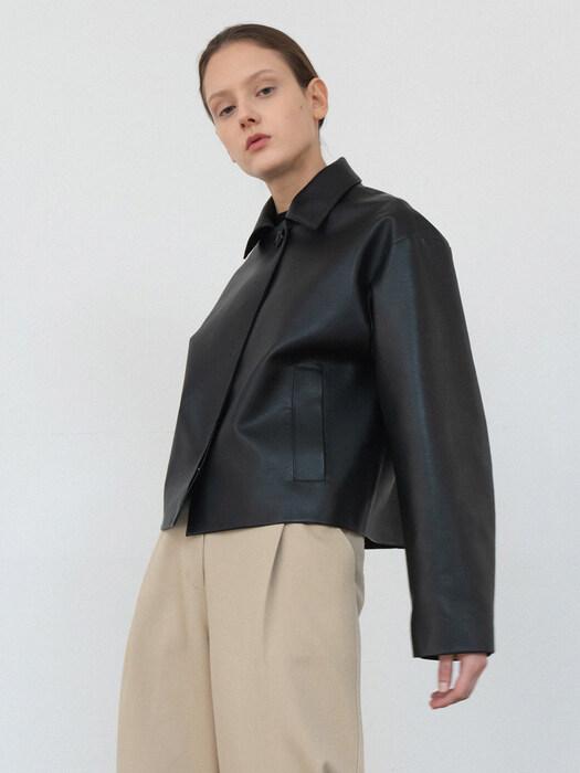 modern fake leather jk (black)