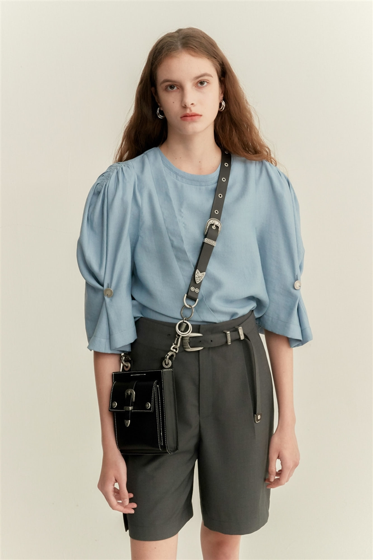 SALLY DETACHABLE RUCHED SHOULDER BLOUSE atb483w(FADED BLUE)