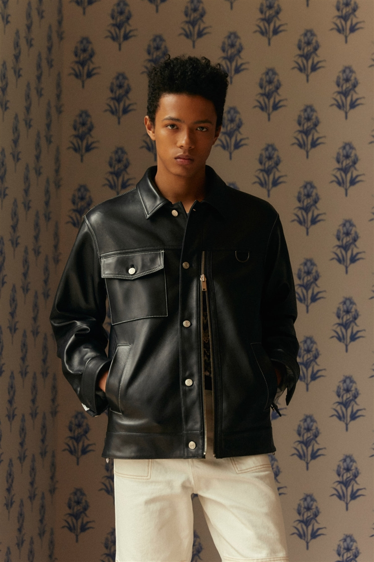 CONTRAST STITCH LEATHER ZIPPER TRUCKER JACKET awa251m(BLACK)