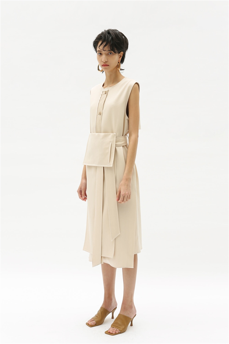 GIANNA SLEEVELESS WRAP MIDI DRESS atb353w(IVORY)