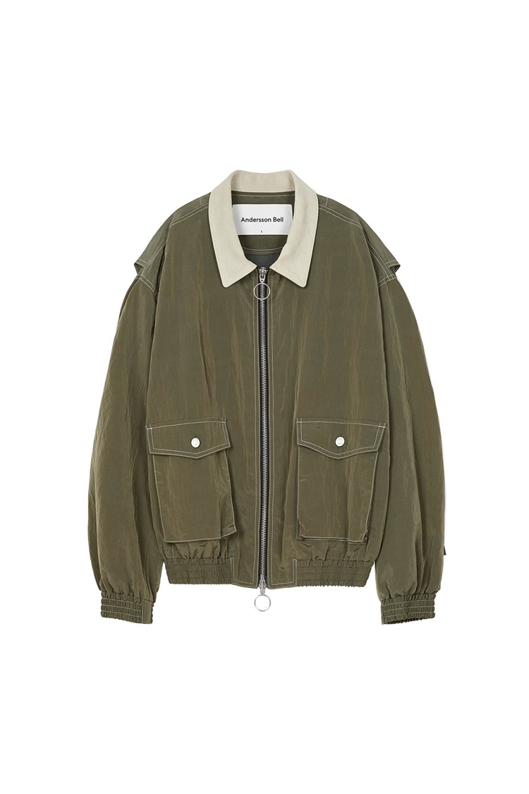 JAMES CONTRAST TOP BOMBER JACKET awa255m(KHAKI)