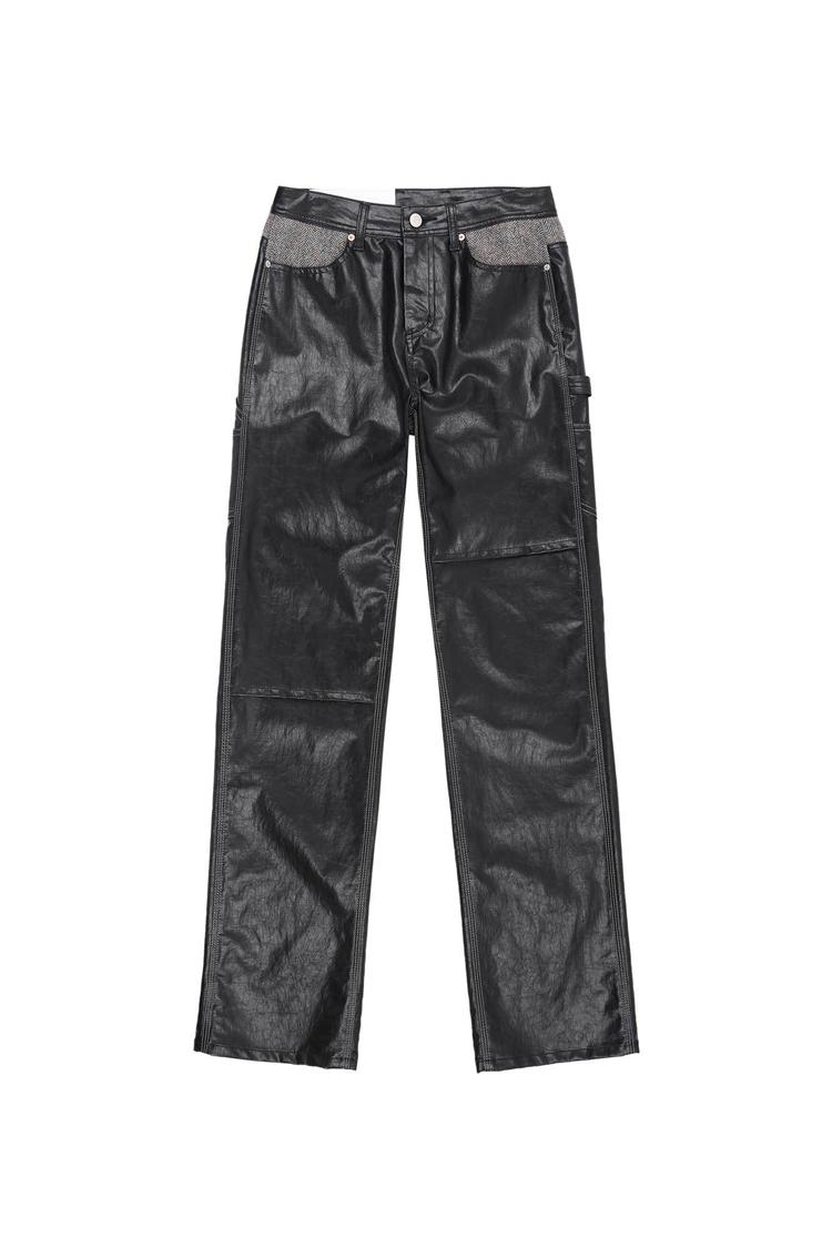 MABEL FAUX-LEATHER CARPENTER PANTS apa376w(BLACK)