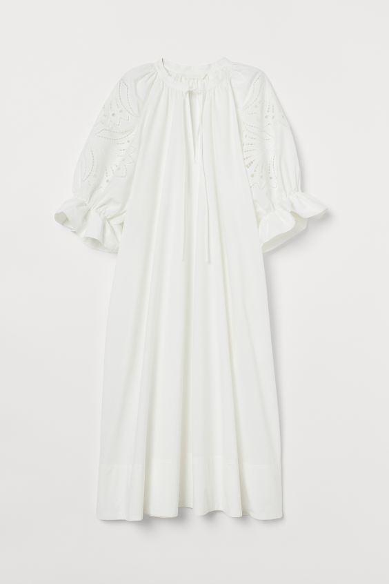 퍼프 슬리브 코튼 드레스