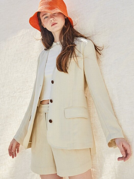 Summer No-Collar Belted Blazer + Shorts SET