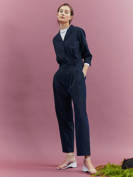 [Classy Cotton] Open Collar Jumpsuit