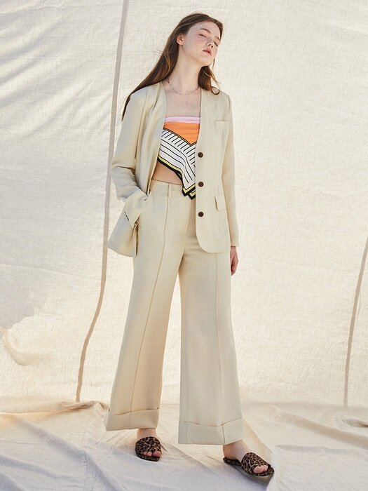 Summer No-Collar Belted Blazer + Wide-leg Turn-up Trousers SET