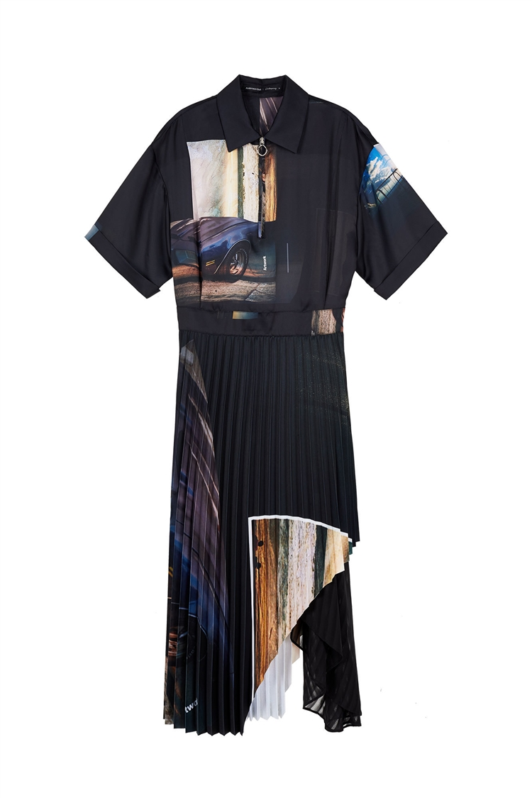 COLLAGE PRINTED LONG DRESS atb389w