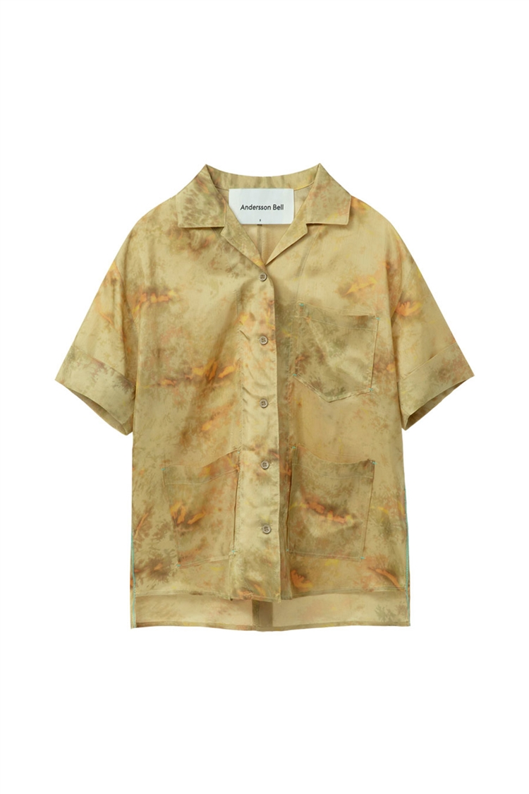 SUNNY TIE-DYED OPEN COLLAR SHIRT atb394w(DARK YELLOW)