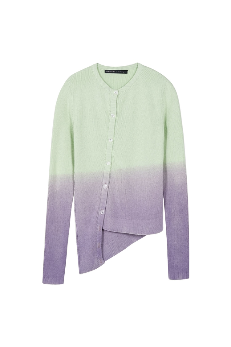 PIECE DYED ASYMMETRIC CUT-OUT CARDIGAN atb400w(MINT/PURPLE)
