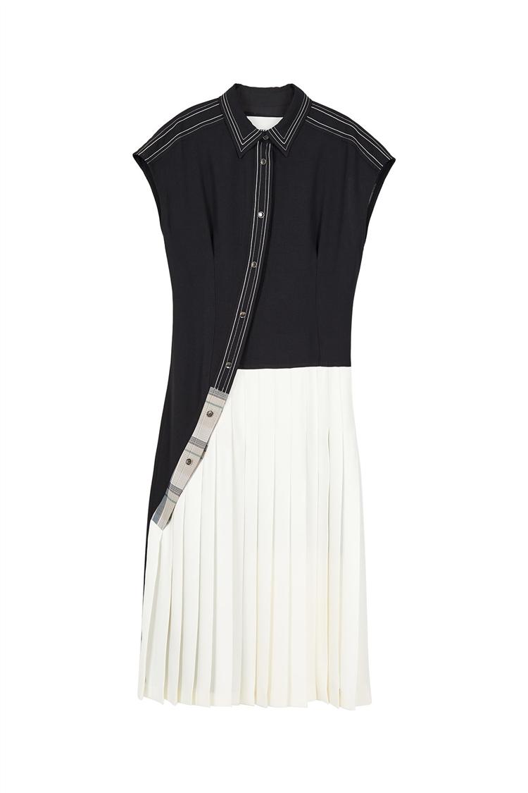 CHAIN STITCHED SLEEVELESS LONG DRESS atb388w(BLACK)
