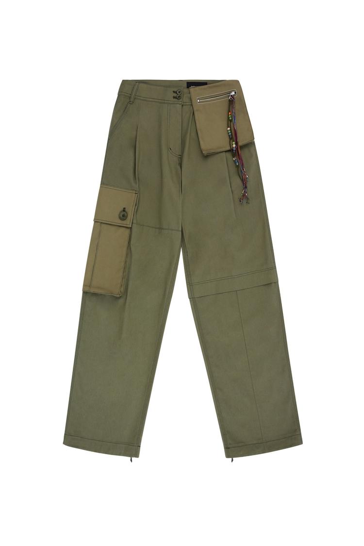 HARLEE TWILL BIG CARGO PANTS apa396w(KHAKI)