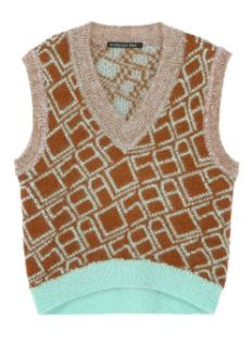 ADSB V-NECK MOHAIR KNITTED VEST atb447w(BROWN/MINT)